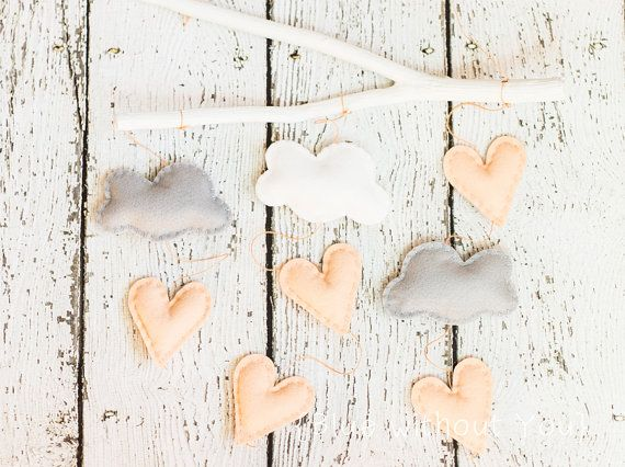 Simple Modern Baby Mobile - Clouds and Heart Raindrops Hanging from a Branch - Peach, White and Silver Gray Felt