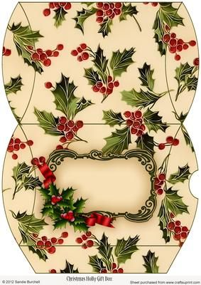 """Christmas Holly Gift Box on Craftsuprint designed by Sandie Burchell - Lovely Christmas Gift Pillowbox with Holly which is ideal for all those small gifts. 6.5"""" x 4.5"""" approx. Click on the mortarboard link below for photographic tutorial. Please take a look at my other designs by clicking on my name. - Now available for download!"""