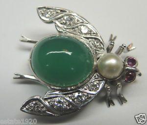 Antique Diamond Green Onyx Bumble Bee Pin D-.30ct Platinum Art Deco Vintage RARE