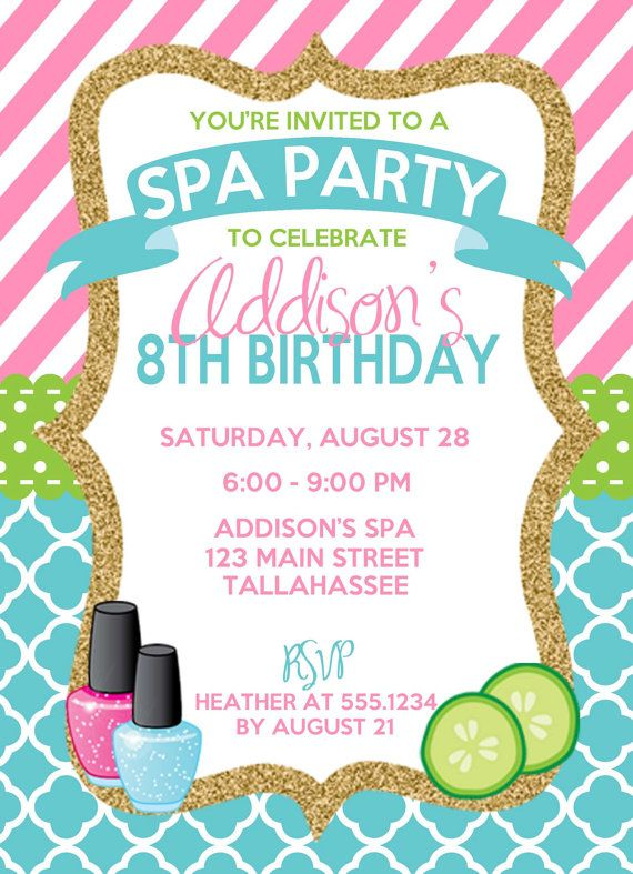 Best 25 Spa party invitations ideas – Girls Birthday Party Invite