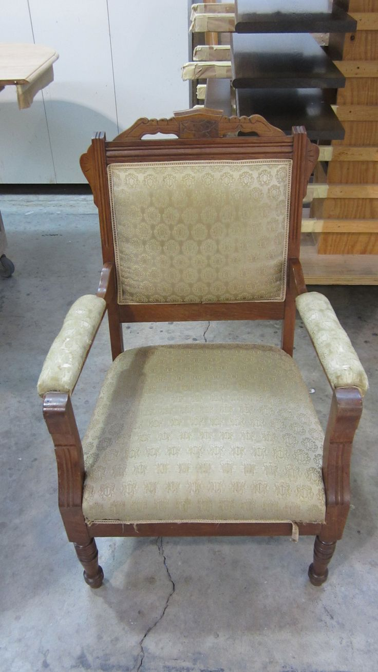 John's chair desperately needed refinishing and reupholstering.