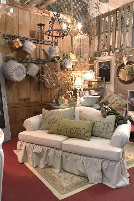 Love the pillows and loveseat ~ from Common Ground: Vintage Inspiration # 80 Inspired for Spring