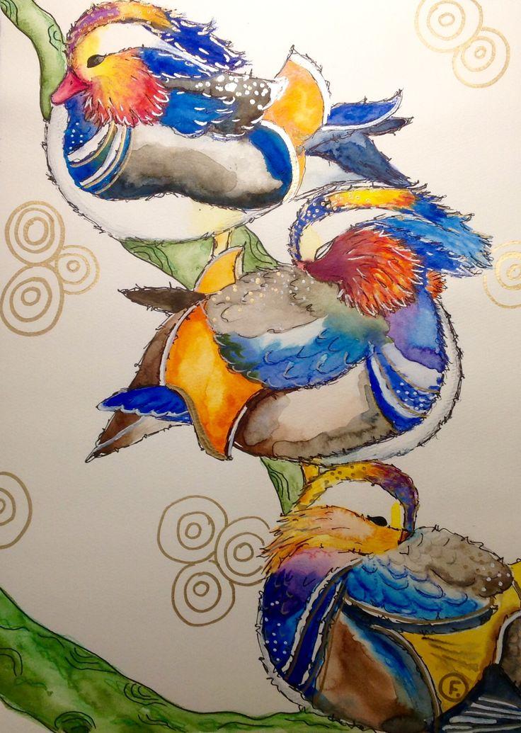#Mandarin-Ente#duck#aquarellart#mixmedia#Vogel#