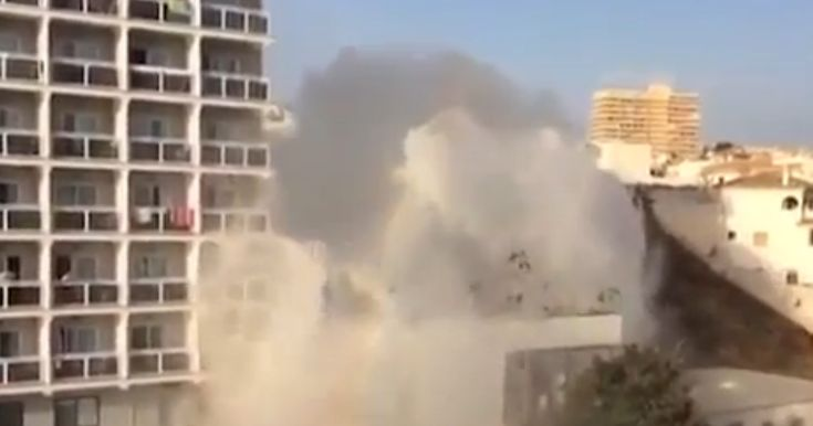 Video of the burst main at Hotel Los Patos, Benalmadena, shows the extraordinary plume of water, crashing over the resort facilities and guest rooms up to five floors up