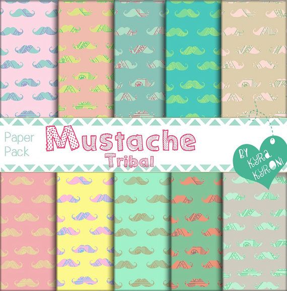 Mustache Tribal  Pattern V.1 Digital Papers... scrapbooking paper,Printable,14 jpg files   - INSTANT DOWNLOAD