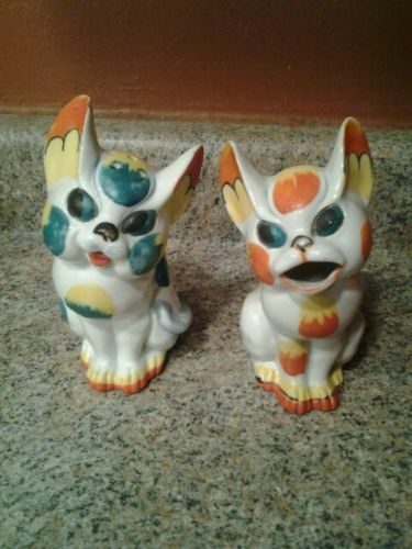 Rare Japan Calico Muffineer Cat And Cream and Sugar Shaker Eclectic Decor