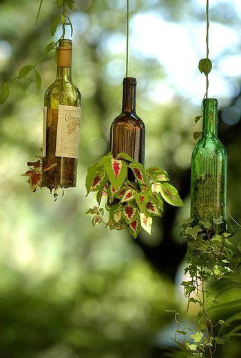 こちらは、空き瓶を使って逆さにハンギング。瓶の色味が透けて見えるところも、日光が当たると綺麗に反射しそうです。