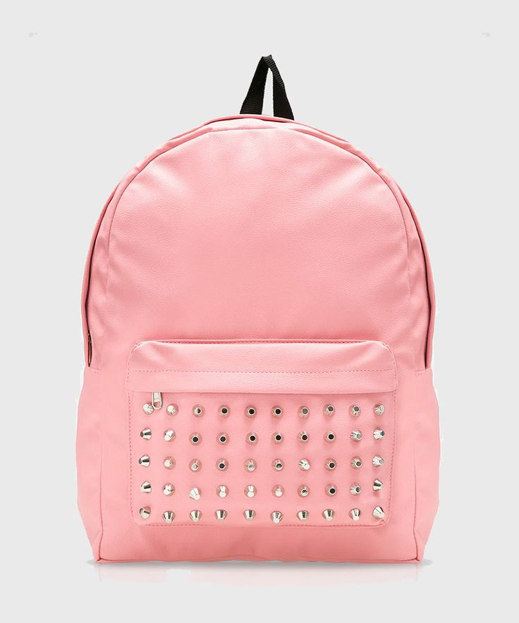 Ranstu Studed Backpack by Bitten Belle. Start your day with this stylish and edgy casual backpack. It features with single pocket, one main compartment, soft pink color, studded accent in front and zipper closure.  http://www.zocko.com/z/JEcs4