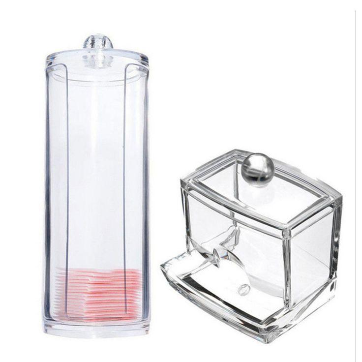 2 Typs אקריליק כותנה הספוגי ארגונית Box נייד + מיכל עגול חפצים מקרה מרכיב תיבת כרית כותנה במלון הבית משרד
