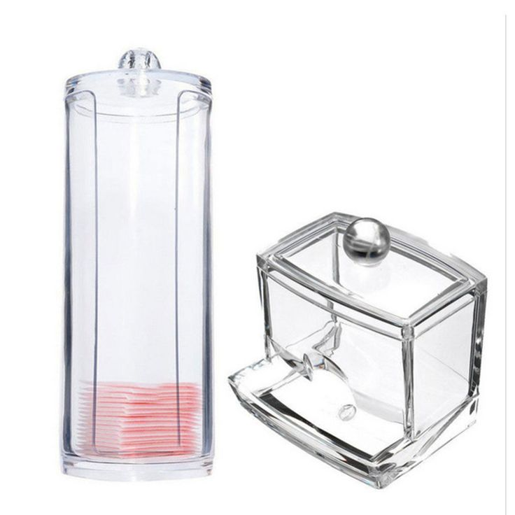 2Typs Acrylic Cotton Swab Organizer Box Portable + Round Container Storage Case Make up Cotton Pad Box For Home Hotel Office
