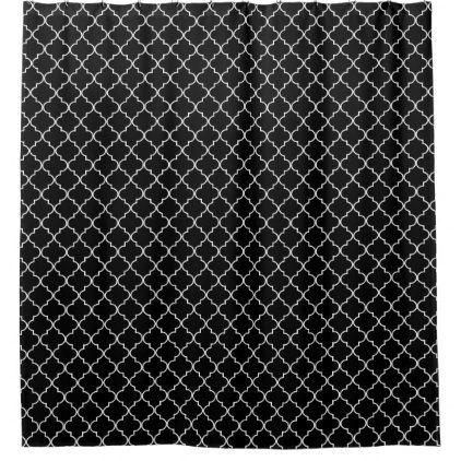 Black White Moroccan Quatrefoil Pattern Shower Curtain - pattern sample design template diy cyo customize