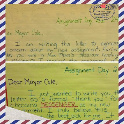 When trying to get students excited about reading, you can't just force them to read! You have to offer the students experiences to engage with the text, the characters, and the settings! I like to have my students write letters to a character in a book. For The City of Ember, my students wrote letters to the mayor explaining if they wanted their assigned job or not! The students loved this activity!!!