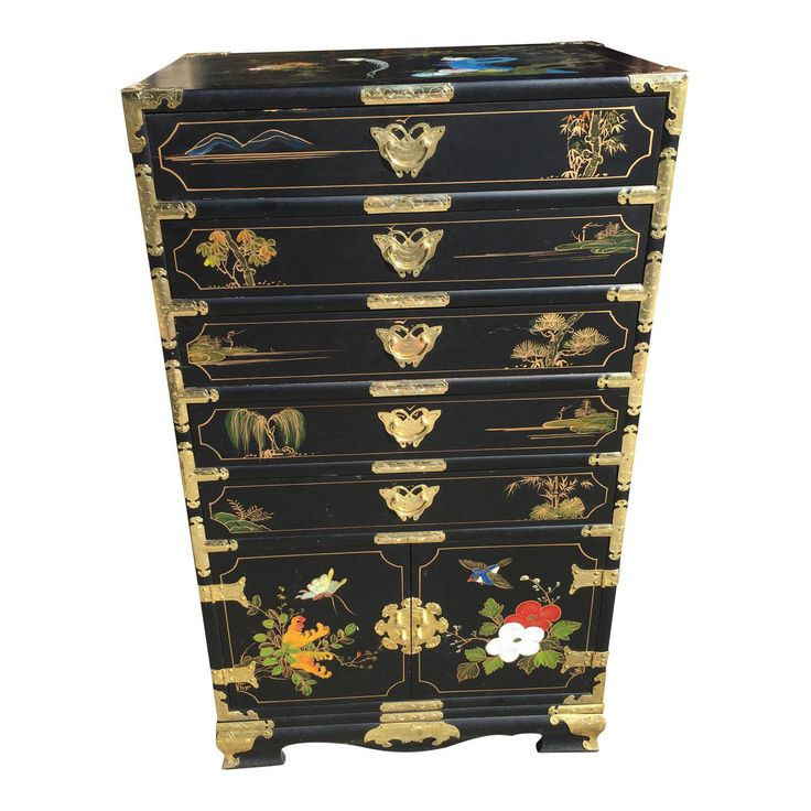 Hand Painted Chinese Chinoiserie Jewelry Chest - Image 1 of 8