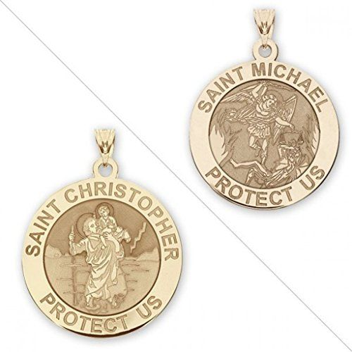 CHAIN IS NOT INCLUDED Available in Solid 14K Yellow or White Gold or in Sterling Silver Size Reference: 17mm is the size of a US dime 19mm is the size of a US nickel 25mm is the size of a US quarter This beautiful Patron Saint medal is double sided and can be worn either way featuring Saint Christopher on one side and Saint Michael on the other side. The Eastern Orthodox Church venerates Saint Christopher on 9 May. The Tridentine Calendar allowed a commemoration of Saint Christopher on 25…