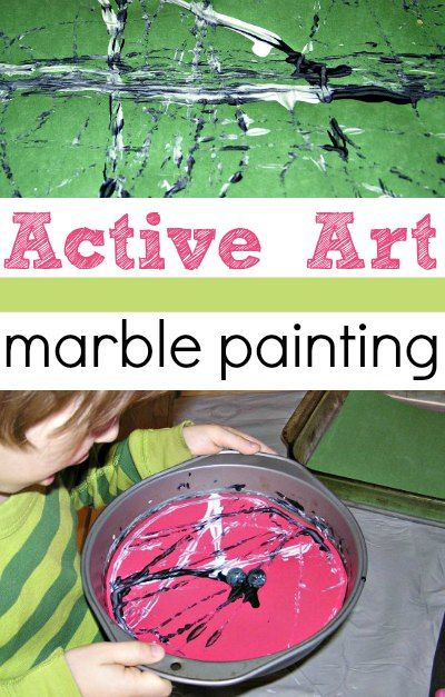 A fun indoor active art project for kids: painting with marbles.