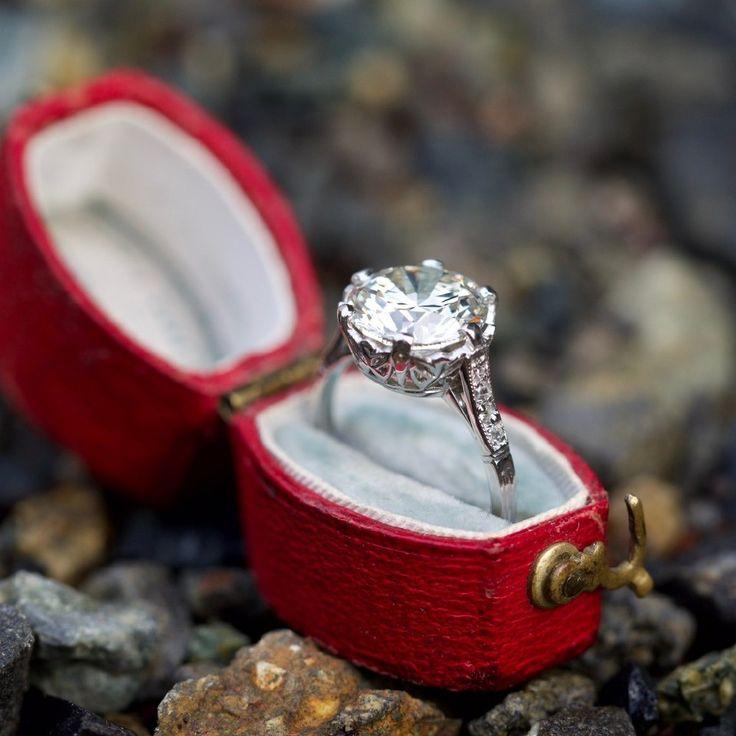 Low Profile Crown Motif 3 Carat Vintage Diamond Engagement Ring
