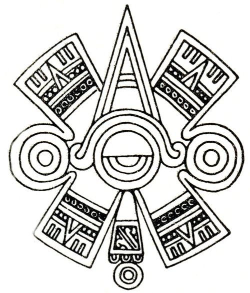 "Ollin. Aztec glyph symbol of  ""centered"" Eye or Third Eye."
