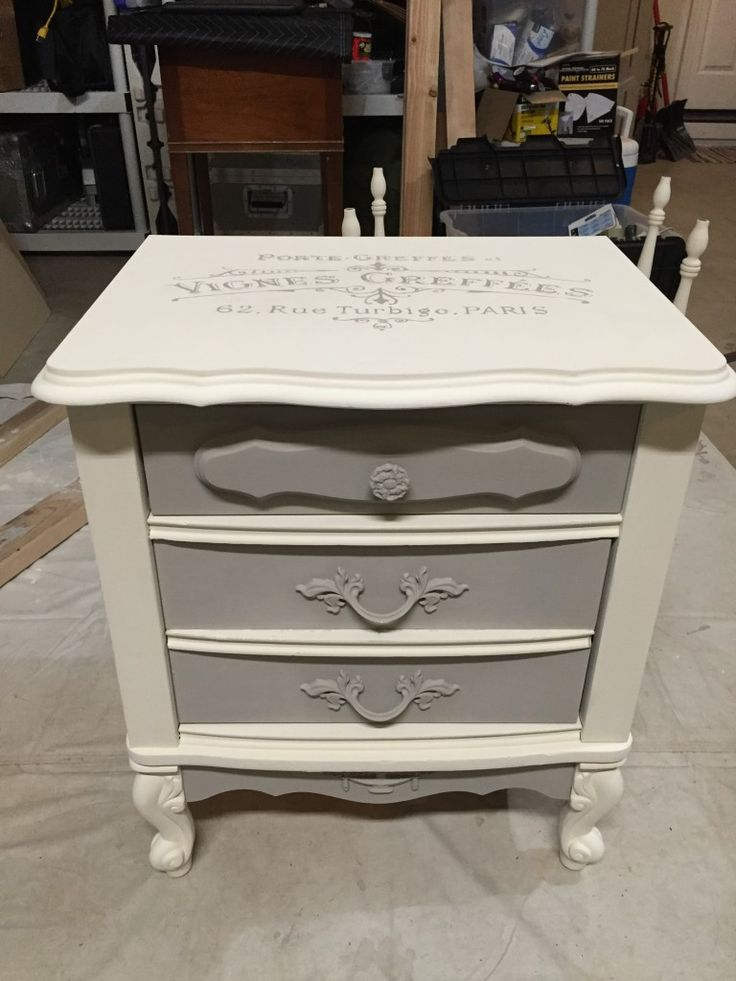 French provincial nightstand update with annie sloan chalk for Furniture transfers