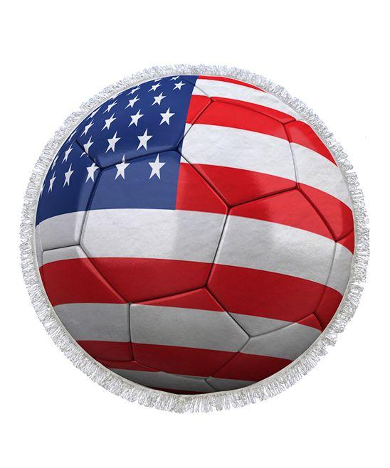 Red & White Soccer Flag Round Towel