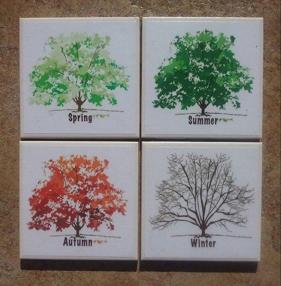 This set of coasters depicts four (4) different Four Seasons designs. Each coaster is 4.25 x 4.25.  These coasters are hand-crafted using printed images and decoupage medium, then sprayed with several coats of acrylic sealant. The backs of the tiles have a cork backing to protect your surfaces.  Care Instructions: it is recommended to wipe these down with a damp cloth; do not submerse in water or place in the dishwasher.  These coasters are made to order, so please allow 2-3 days turnaround…