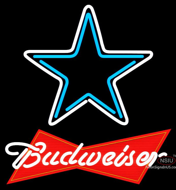 Budweiser Red Dallas Cowboys NFL Real Neon Glass Tube Neon Sign,Affordable and durable,Made in USA,if you want to get it ,please click the visit button or go to my website,you can get everything neon from us. based in CA USA, free shipping and 1 year warranty , 24/7 service