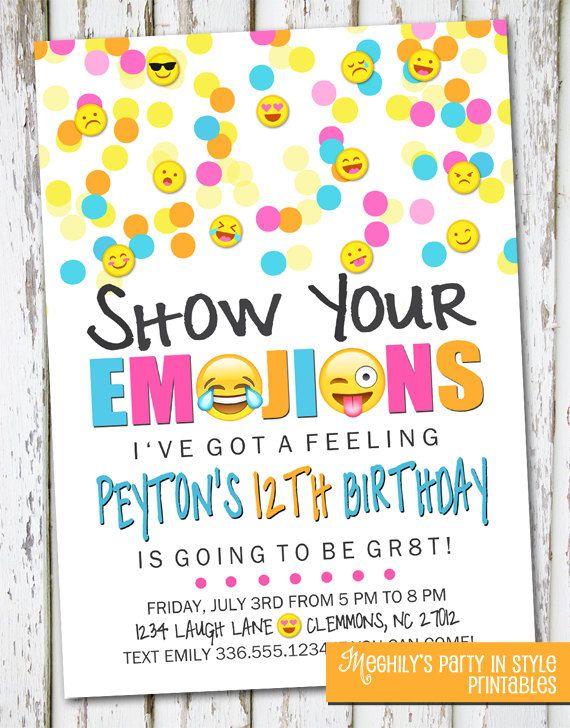 Emoji Inspired Invitation by Meghilys on Etsy Emoji Invite, emoji, emoticon, emoji birthday