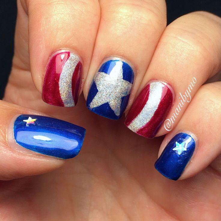 Captain America's shield nail art nails.