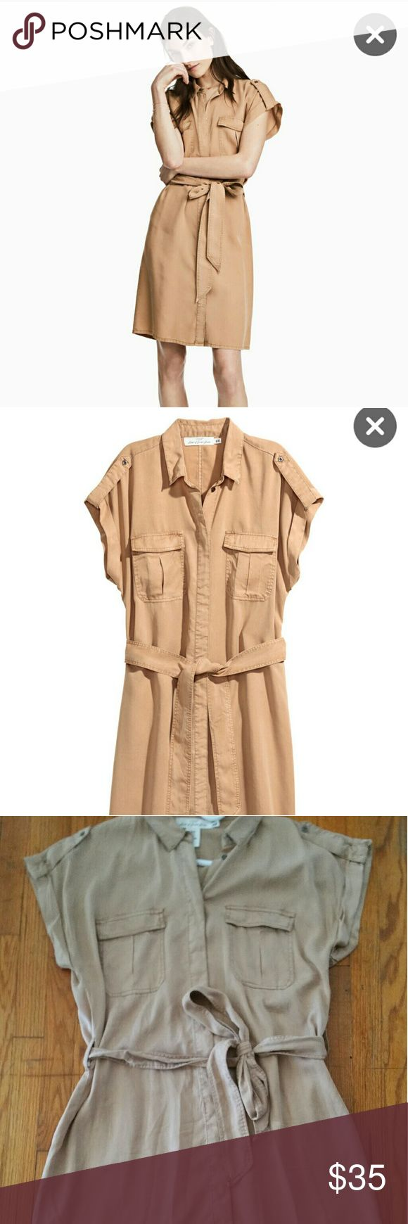 Tan Lyocell Shirt Dress H&M Sz 10 SS2017 Lovely H&M tan colored shirt/safari dress. Still available online for $59! Made from lyocell, a very buttery, silky cotton type fabric. This dress is modest in length. I am 5'5 155lbs with curves and it hits about 5 inches above my knee. H&M Dresses