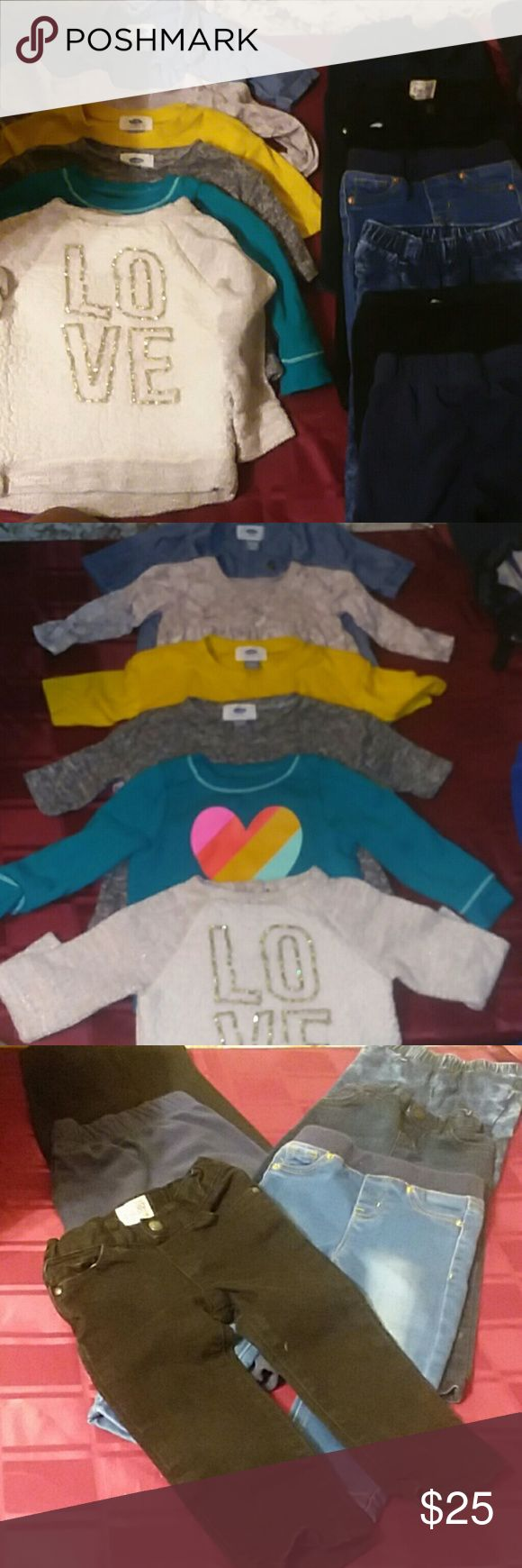 18-24 month Bundle 2 Old Navy 18-24 month tunics  (demin 3/4 sleeve and gray floral long sleeve) 2 Old Nacy 18-24 month 3/4 sweaters  (yellow and gray) 2 Cat and Jack Sweat Shirts  (teal and cream)  2 Children's Place  18-24 month Jeans  (dark blue and black) 2 Cat and Jack 18 month demin jeggings ( blue) 1 Cat and Jack 18 month sweat pant  (black) 1 Carters Fleece 18 month sweat pant  (navy blue) Old Navy Shirts & Tops