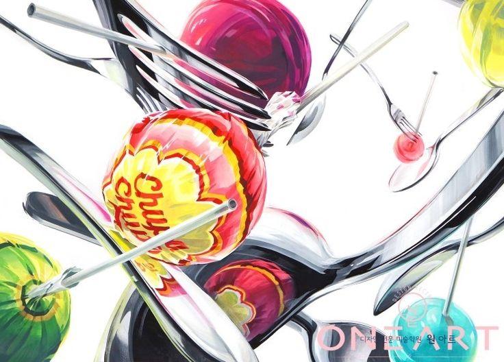 평촌미술학원 디자인원아트 기초디자인춥파춥스사탕과 포크와 수푼을 소재로한 기초디자인입니다!! 기존의 ...