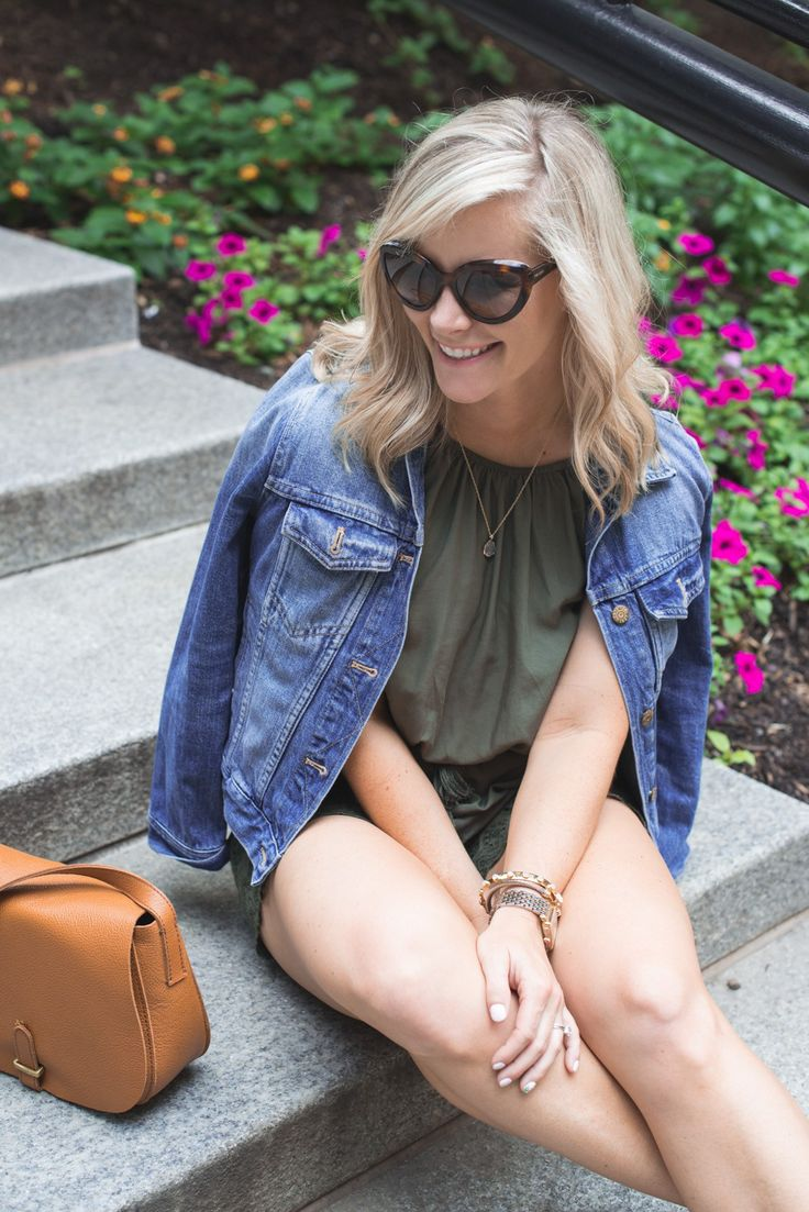 Blogger, Ashley Pletcher from Afternoon Espresso wearing a Target romper paired with a Madewell Denim jacket for easy summer fashion.