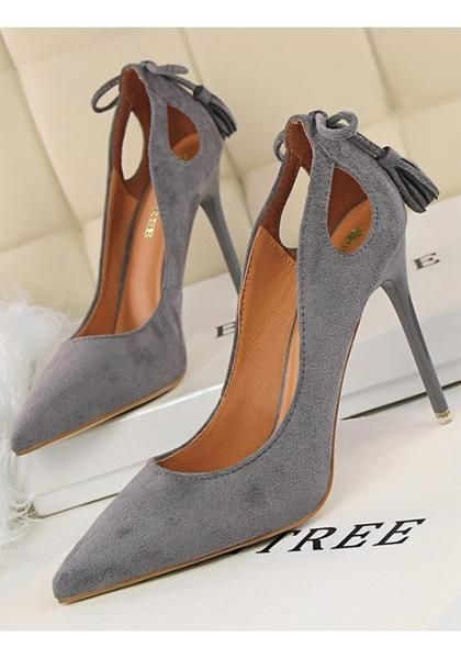 Grey Point Toe Stiletto Bow Tassel Cut Out Fashion High-Heeled Shoes