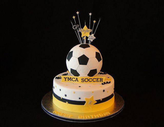 yellow soccer cake