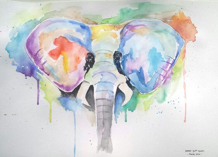 Elephant, watercolour