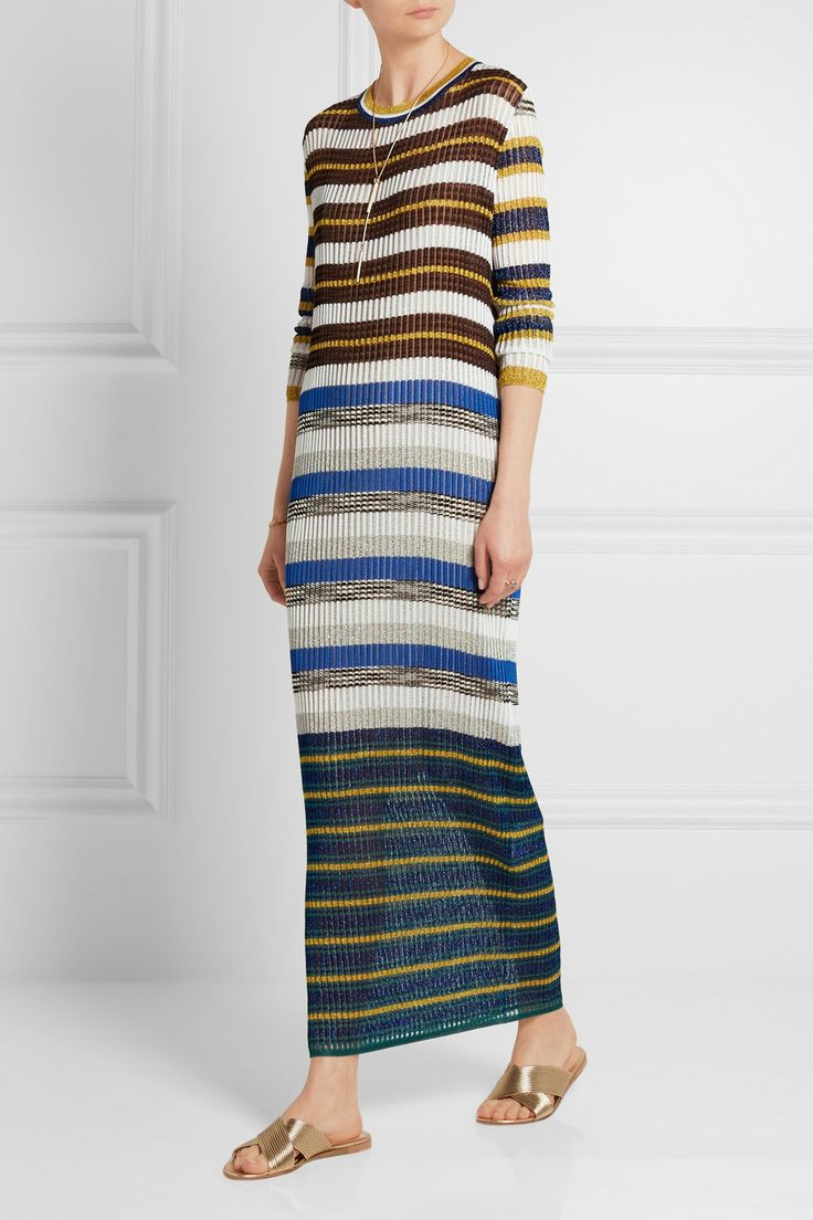 Missoni | Metallic-striped crochet-knit maxi dress | NET-A-PORTER.COM
