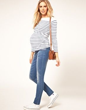 Enlarge ASOS Maternity Exclusive Top In Cotton Breton Stripe