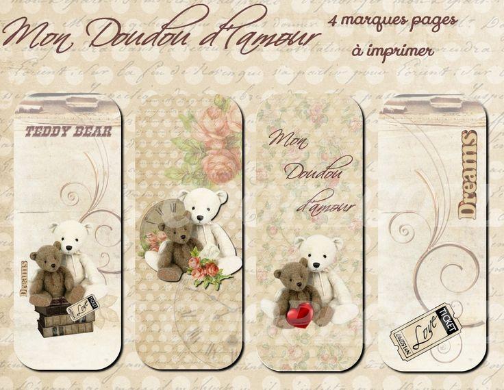 """4 marques pages à imprimer """"Doudou d'amour"""""""