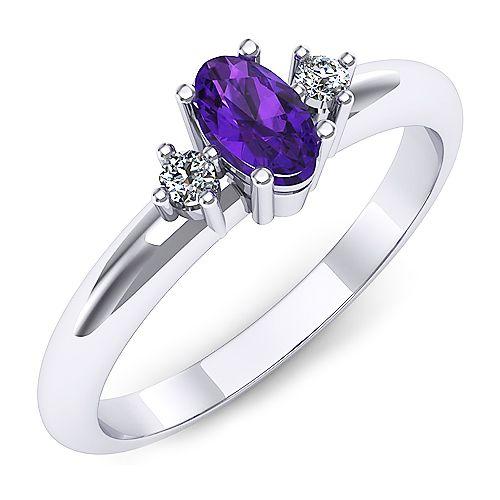 Inel de logodna din aur alb, cu un ametist oval si doua diamante