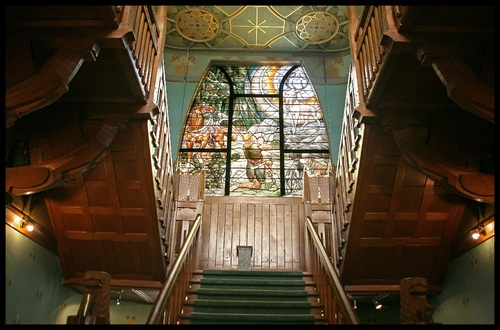 Grand staircase of Jachtslot 'De Mookerheide', Mook, 1902. Hotel and restaurant.