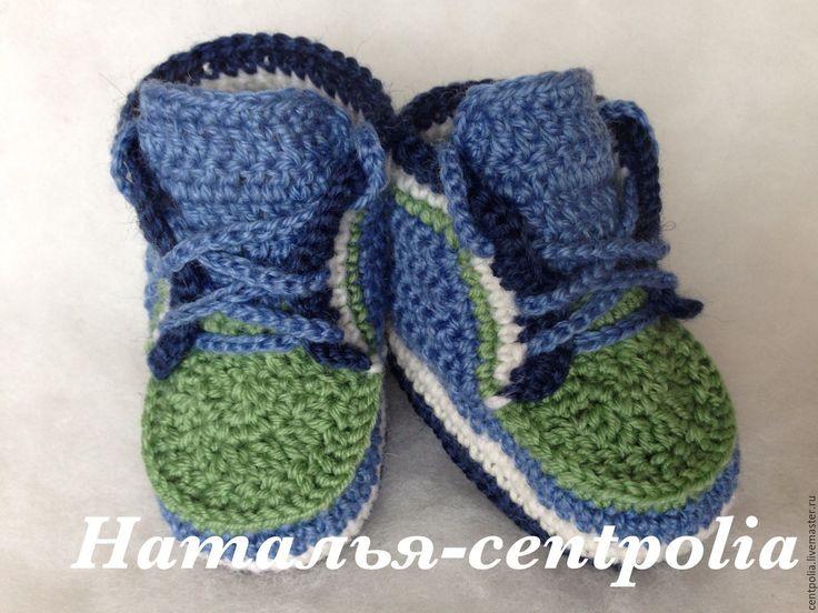 Купить Пинетки ботиночки - комбинированный, пинетки для новорожденных, пинетки для девочки, пинетки в подарок, пинетки крючком