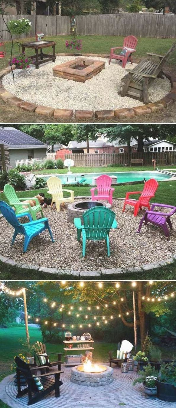 Firepit Patio Country Cottage Diy Circular Outdoor Entertaining Space Backyard Inspiration Backyard Backyard Fire