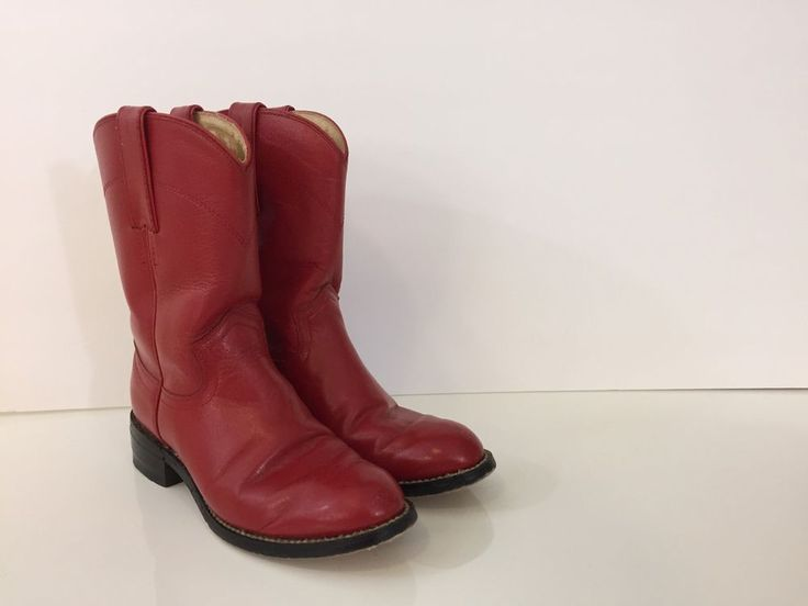 Kid's Cowboy Boots Justin Red Leather Little Girl's Cowgirl Children's sz 1  | eBay