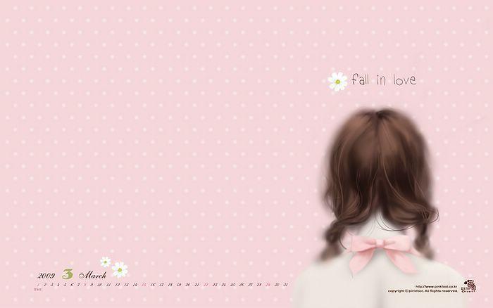 2009 Calendar Wallpapers - Stylish Art Illustrations   - Jennie, March Calendar, Enakei Illustration 8