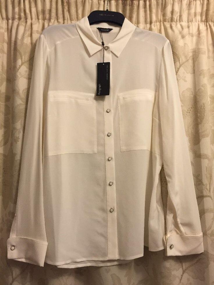 M&S AUTOGRAPH Washable 100%PURE SILK UK14 Ivory BNWT Ladies Shirt
