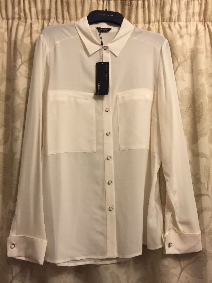 M&S AUTOGRAPH Washable 100%PURE SILK UK14 Ivory BNWT Ladies Shirt