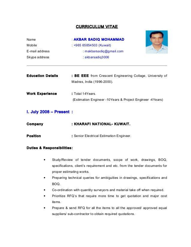 Resume Format Kuwait | Resume Format | Job resume format