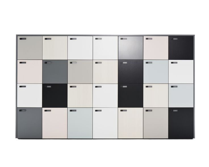 the wall is a modular locker cabinet for many types of storage needs in small