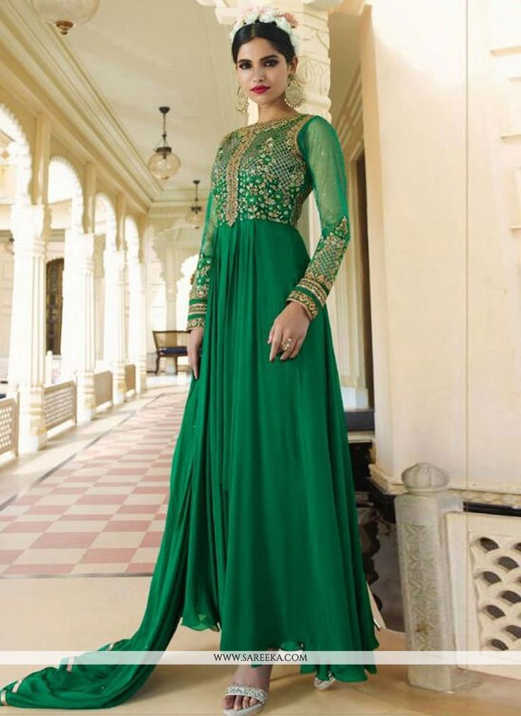 Fashion and pattern could be at the peak of your magnificence once you attire this green georgette designer floor length suit. The embroidered and resham work seems chic and great for any get together...