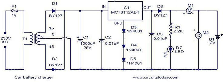 Description. Given below, is a very simple circuit that can be used for charging car batteries. In this circuit there is facility for monitoring the charging current and voltage. The circuit is based on the IC MC78T12ABT from Freescale.The IC is nothing but a 7812 in TO-3 package with 3A capacity. The transformer T1 steps [...]