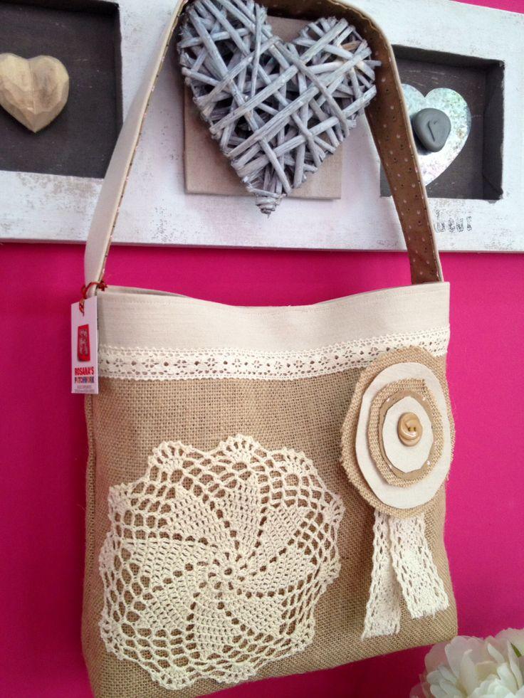 Bolso con asa de tela de saco de rosana 39 s patchwork - Tela de saco ...
